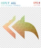Reply all polygonal symbol. Awesome mosaic style symbol. brilliant low poly style. Modern design. reply all icon for infographics or presentation Stock Photos
