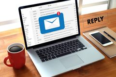 Reply the message email on computer Businessman is working to important reminder stock images