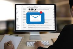 Reply the message email on computer Businessman is working to important reminder royalty free stock images