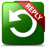 Reply rotate arrow icon green square button. Reflecting shadow with red ribbon in corner Royalty Free Stock Images