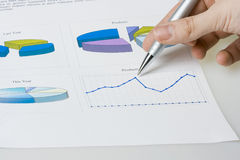 Report. Hand pointing on report with diagrams Stock Photo