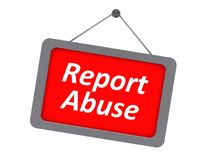 Report abuse sign. In red hung on white background Stock Photography