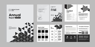 02-Report Brochure Creative Design. Multipurpose template with cover, back and inside pages. Trendy minimalist flat geometric desi vector illustration
