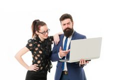 Report business result. Financial report. Financial indicators. Couple working using laptop. Business lady check what is. Done. Lady boss satisfied with royalty free stock photography