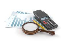 Report with calculator and magnifying glass. On white background Stock Image