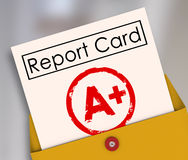 Report Card A+ Plus Top Grade Rating Review Evaluation Score. Report Card with A+ or Plus stamped on it within a yellow envelope to show your results, score Royalty Free Stock Photo