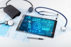 Modern medical technology system and devices. Report and cell composition concept with modern medical technologyn royalty free stock images