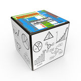 Report charts concept. Cube with drawn graphs as concept Royalty Free Stock Photos