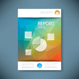 Report cover template with pie chart symbol and 3d. Low poly vector background. Business brochure or presentation title page. Eps10 vector illustration Royalty Free Stock Images