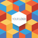 Report cover vector template. Low polygonal cube Stock Images