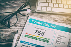 Report credit score banking borrowing application risk form. Document loan business market concept - stock image Royalty Free Stock Image