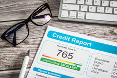 Report credit score banking borrowing application risk form. Document loan business market concept - stock image Royalty Free Stock Images