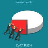 Report data push business segment chart diagram flat 3d vector Stock Photography