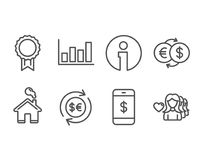 Report diagram, Smartphone payment and Reward icons. Money currency, Money exchange and Woman love signs. Set of Report diagram, Smartphone payment and Reward Stock Images
