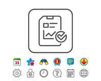 Report document line icon. Checklist. Royalty Free Stock Image