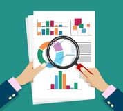Report documents research stock illustration