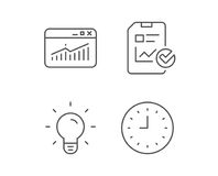 Report file, Lamp and Browser window icons. Report file, Lamp and Browser window line icons. Clock or Time sign. Quality design elements. Editable stroke Royalty Free Stock Photos