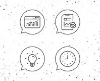 Report file, Lamp and Browser window icons. Speech bubbles with signs. Report file, Lamp and Browser window line icons. Clock or Time sign. Grunge background Stock Photos