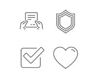 Report file, Protection and Check icons. Report file, Protection and Check line icons. Heart or Love sign. Quality design elements. Editable stroke. Vector Royalty Free Stock Photography