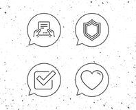Report file, Protection and Check icons. Speech bubbles with signs. Report file, Protection and Check line icons. Heart or Love sign. Grunge background Stock Image