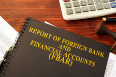 Report of Foreign Bank and Financial Accounts FBAR. Book with title Report of Foreign Bank and Financial Accounts FBAR royalty free stock photo