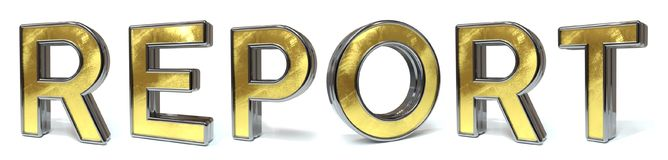 Report golden text. Report 3d rendered gold and silver color text on white Royalty Free Stock Images
