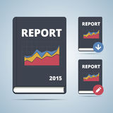 Report Icon Book Illustration. With graph chart and download and edit pictogram. Vector illustration in flat style Royalty Free Stock Photo