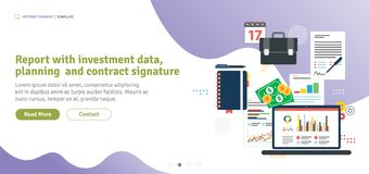 Report with investment data, planning and contract signature vector illustration
