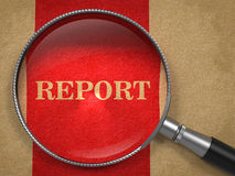 Report through Magnifying Glass. Report through Magnifying Glass on Old Paper with Red Vertical Line Stock Images