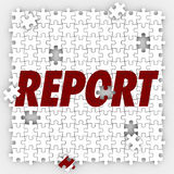 Report Puzzle Pieces Tracking Sales Budget Performance Royalty Free Stock Photo