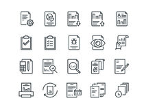 Report. Set of outline vector icons. Includes such as Auto Reports, Calculation, Settings, Generate and more. Report. Set of outline vector icons on a white Stock Photos