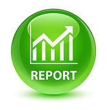 Report (statistics icon) glassy green round button Stock Photography