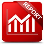 Report (statistics icon) red square button red ribbon in corner Royalty Free Stock Photography