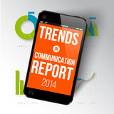 Report template with realistic smartphone Royalty Free Stock Photography