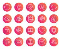 Report, Time and Globe line icons. Statistics. Report, Time and Globe line icons. Statistics, Speech bubble and Light bulb signs. Credit card, Download and Lock Royalty Free Stock Photography