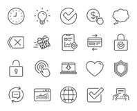 Report, Time and Globe line icons. Statistics. Royalty Free Stock Photos