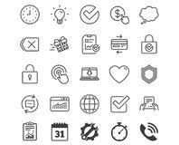 Report, Time and Globe line icons. Statistics. Report, Time and Globe line icons. Statistics, Speech bubble and Light bulb signs. Credit card, Download and Lock Royalty Free Stock Photo