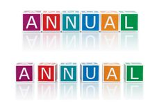 Report Topics With Color Blocks. Annual. Stock Images