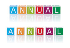 Report Topics With Color Blocks. Annual. Stock Image