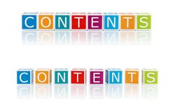Report Topics With Color Blocks. Contents. Royalty Free Stock Photos