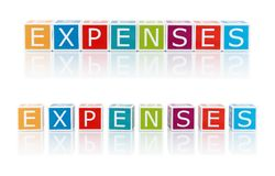 Report Topics With Color Blocks. Expenses. Stock Photos