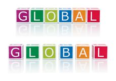 Report Topics With Color Blocks. Global. Stock Photography