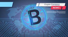 Reportage de crypto devise Bitcoin au-dessus de carte du monde sur le concept d'argent de Web de Digital de fond de circuit Images libres de droits