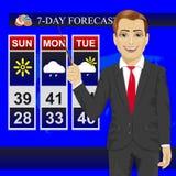 Reportage de présentateur de météorologiste de journaliste d'actualités de temps de TV avec l'indicateur sur l'écran de moniteur illustration stock