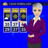 Reportage de présentatrice de météorologiste de journaliste d'actualités de temps de TV sur l'écran de moniteur illustration stock