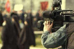 Reportage della TV Fotografie Stock