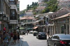 Reportaje de la foto de Ulcinj de la calle principal rr de Montenegro ulqinaku de Ali del hafiz fotografía de archivo libre de regalías
