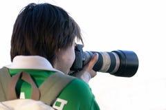 Reporter. Shooting stock photos