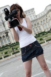 Reporter. A young and nice reporter girl Stock Photography