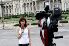 Reporter. A nice and young reporter Stock Photography